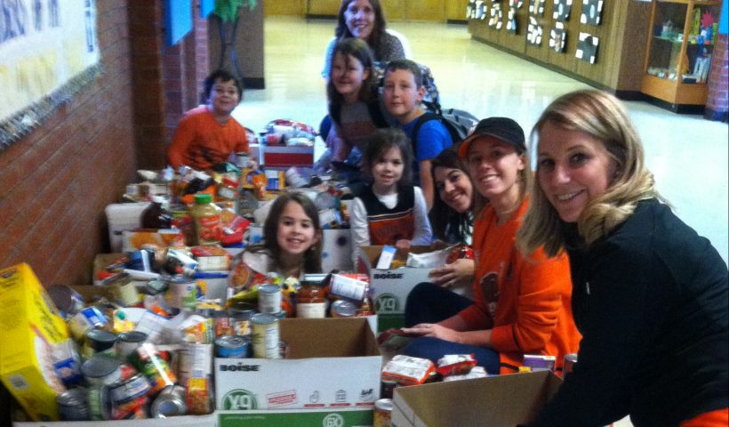 Kids doing a food drive